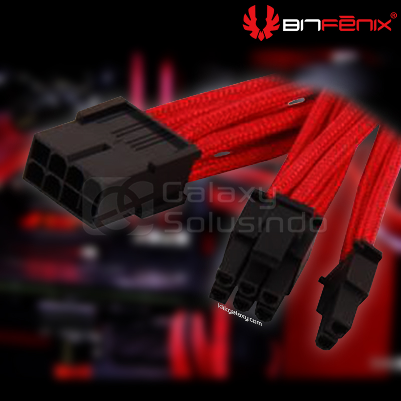 Bitfenix Alchemy PCiEx power 6+2 pin Red - sleeved cable